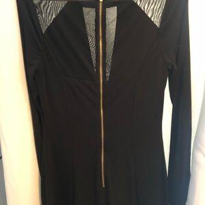 Long sleeve black midi dress